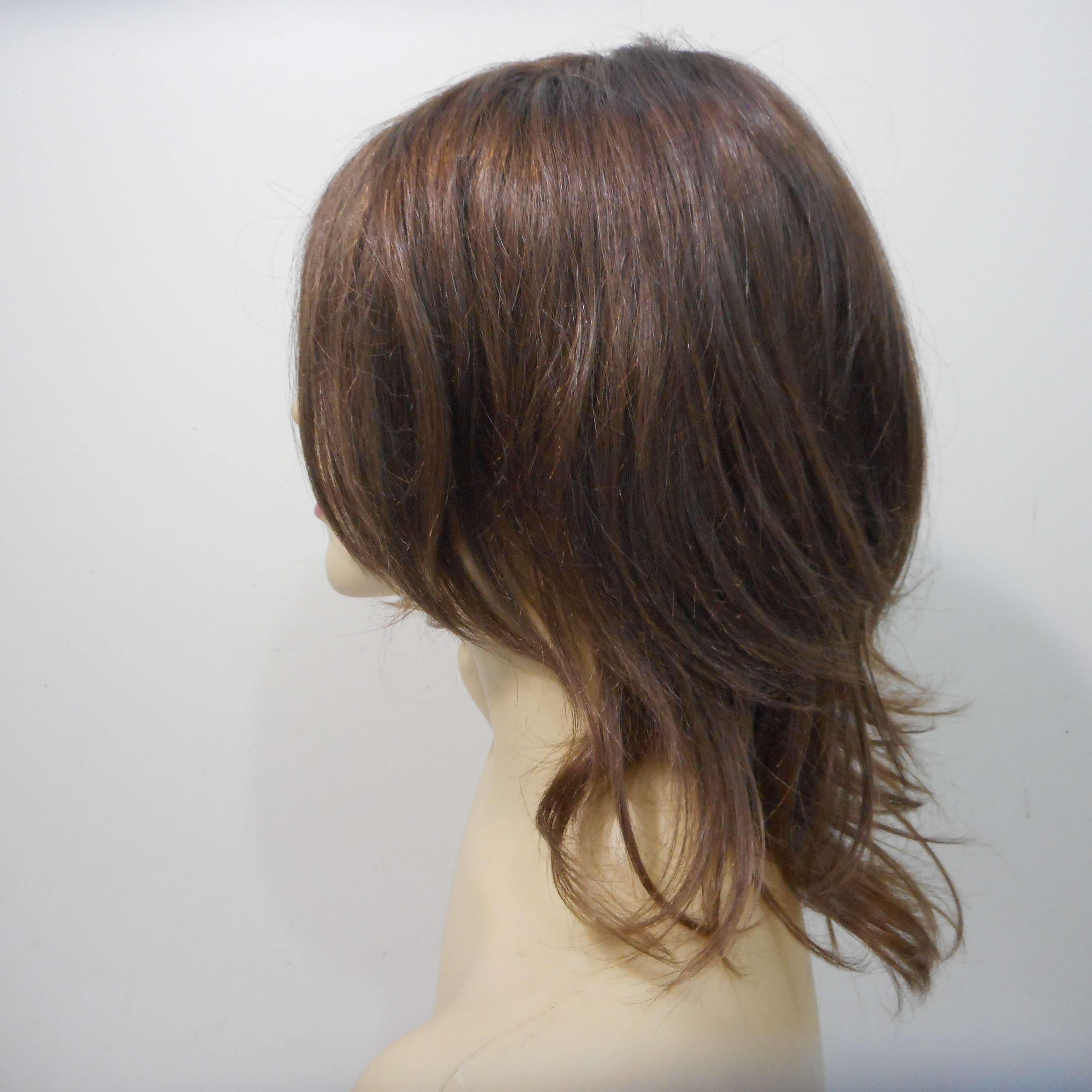 Peruca de cabelo natural castanho médio