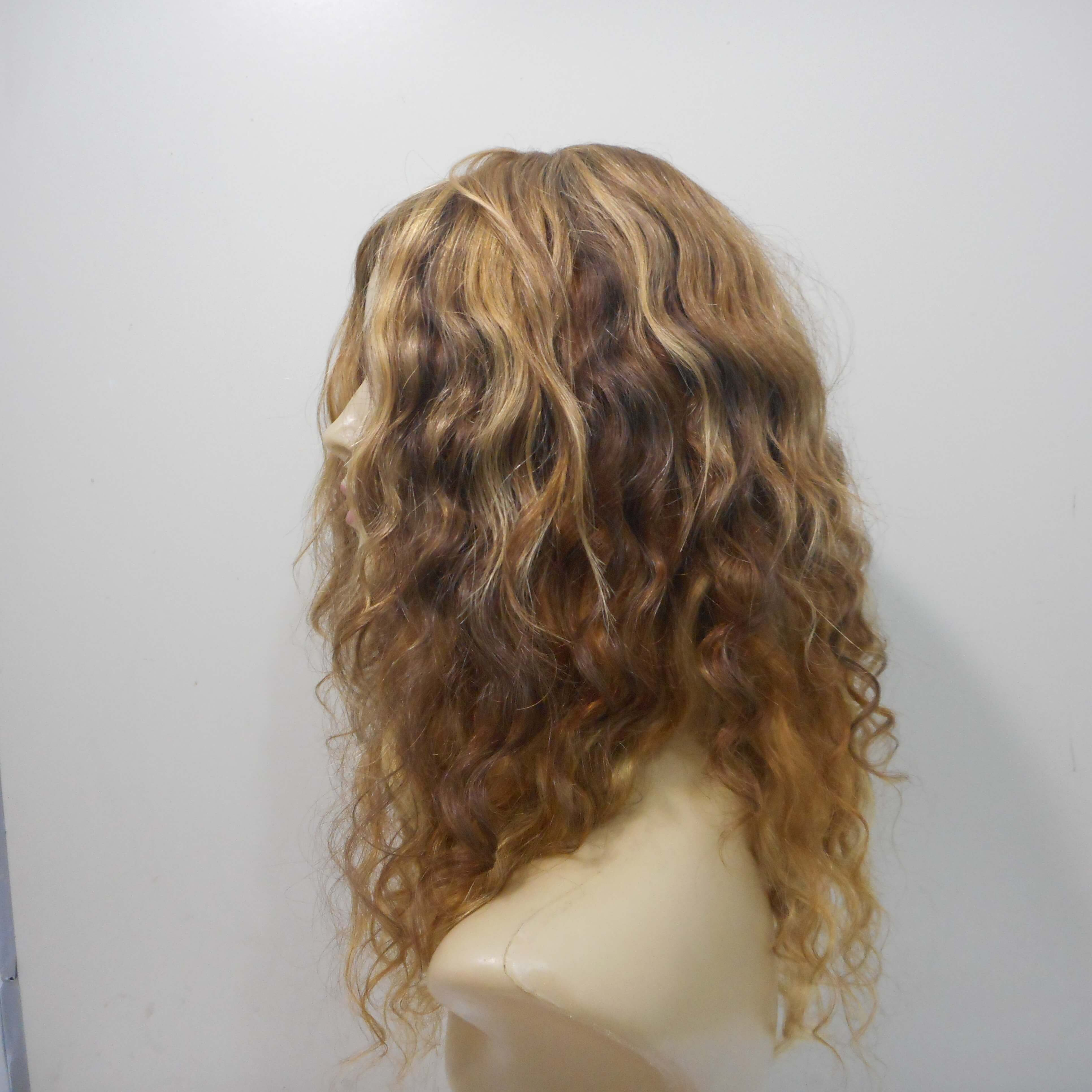 Peruca de cabelo natural crespa loira