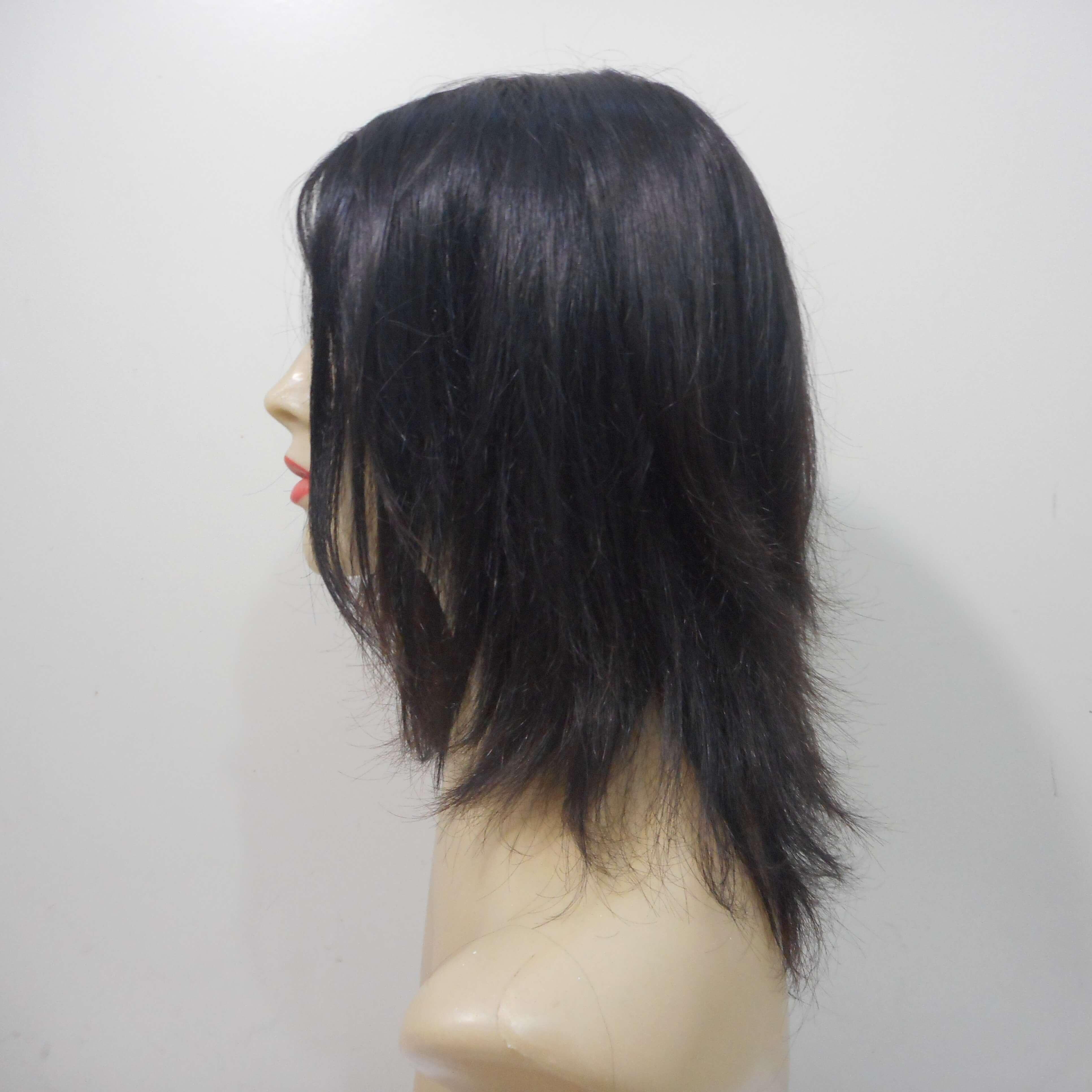 Peruca de cabelo natural castanho escuro